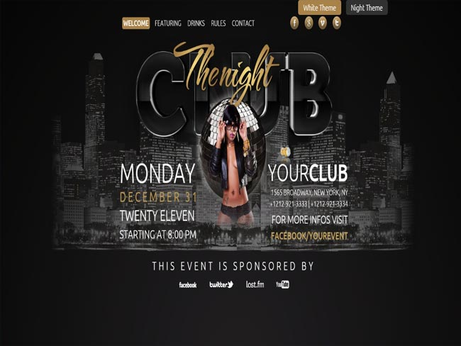 The Club - Night Show 3D Effect Night Club HTML Template