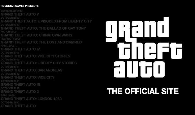 grand theft auto homepage layout