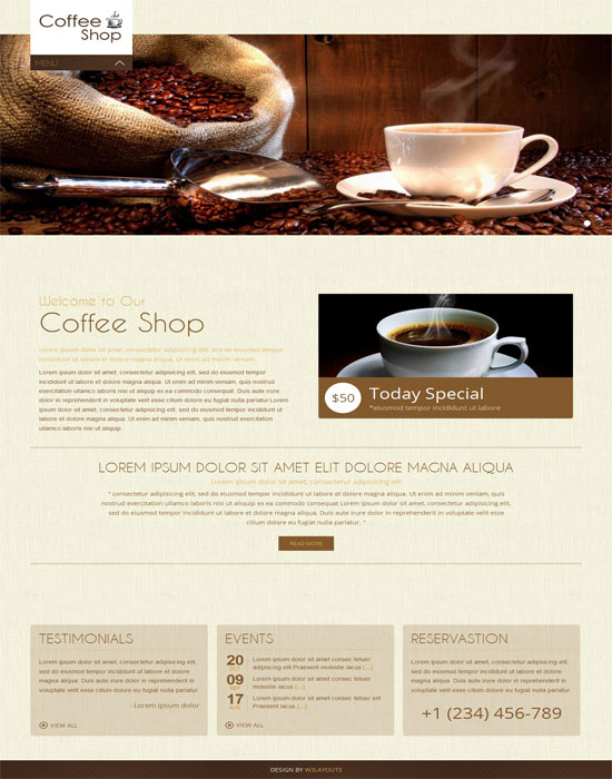 Coffee Shop thiet ke website cafe mien phi