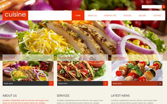 Cuisine thiet ke website cafe mien phi