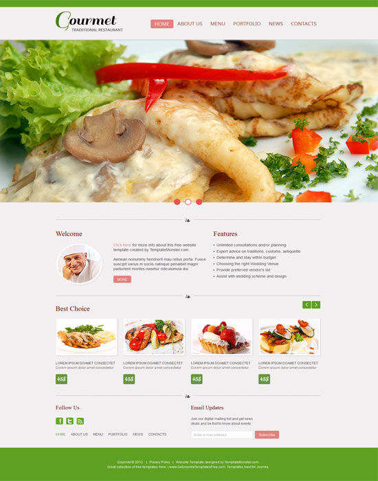 Gourmet thiet ke website cafe mien phi