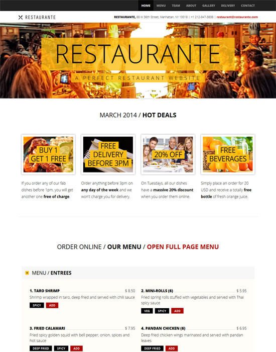 Restaurante - thiet ke website cafe mien phi