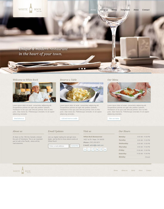 White Rock - Restaurant & Winery Website Template
