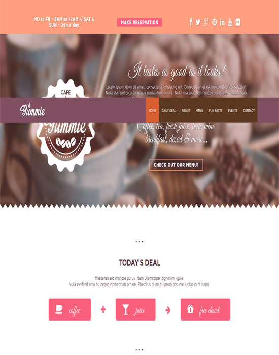 Yummie - thiet ke website cafe