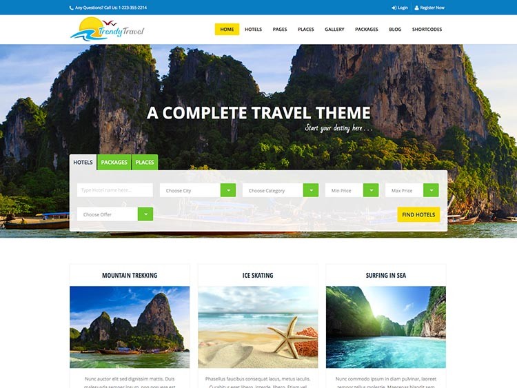 Trendy Travel thiet ke website du lich dep