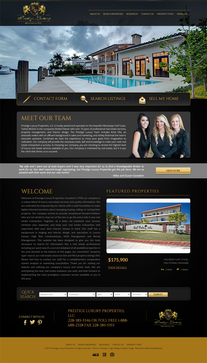 Prestige Luxury Properties thiet ke website bat dong san