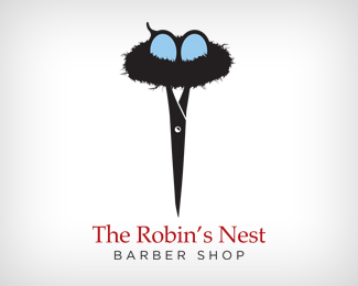 Robins Nest Barber Shop thiet ke logo dep