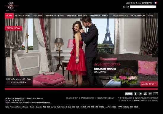 Plaza Athenee Paris thiet ke website khach san