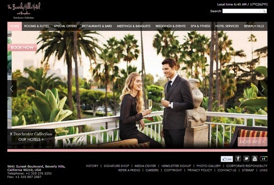 The Beverly Hills Hotel thiet ke website khach san