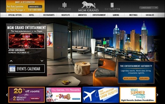 MGM Grand thiet ke website khach san