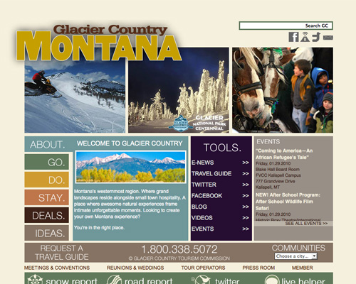 glaciercountry thiet ke web du lich