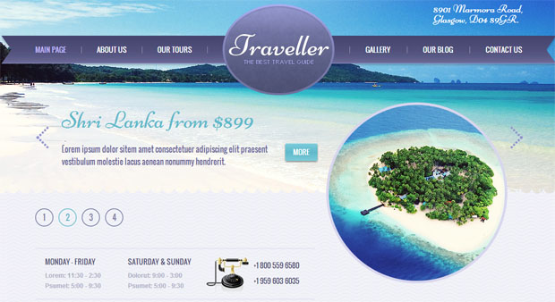 traveller tourism wordpress responsive theme thiet ke web du lich