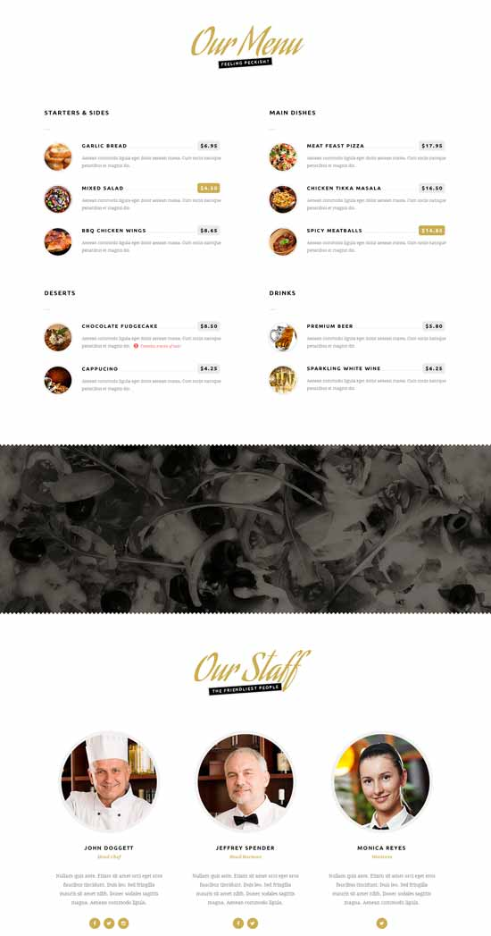 hungry one page html restaurant template thiet ke web nha hang