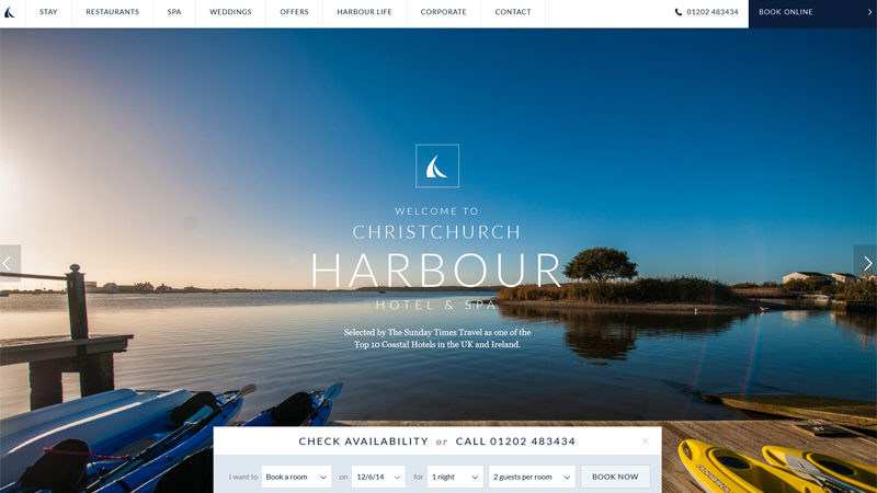 Christchurch Harbour thiet ke website khach san