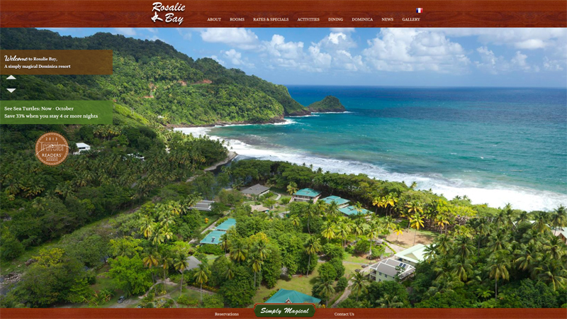 Rosalie Bay Resort thiet ke website khach san