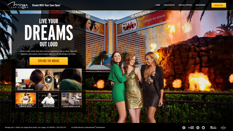 The Mirage Hotel & Casino thiet ke website khach san