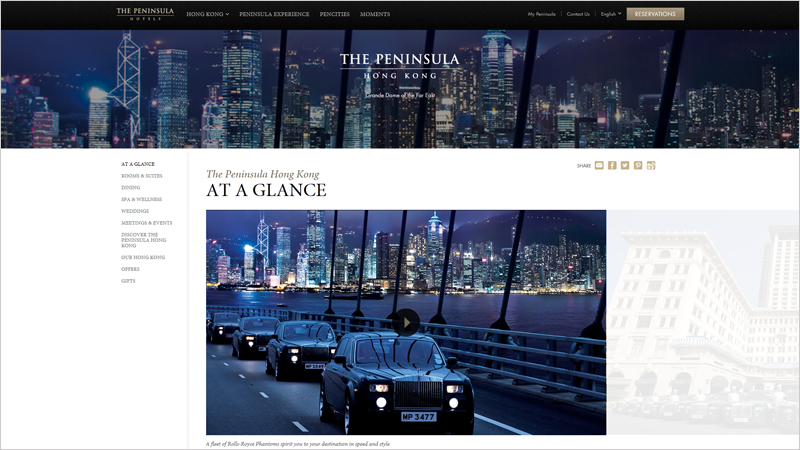 The Peninsula Hong Kong thiet ke website khach san