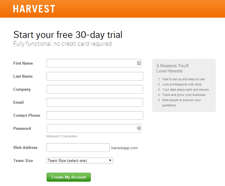 start your free trial conversion page harvest thiet ke web ban hang
