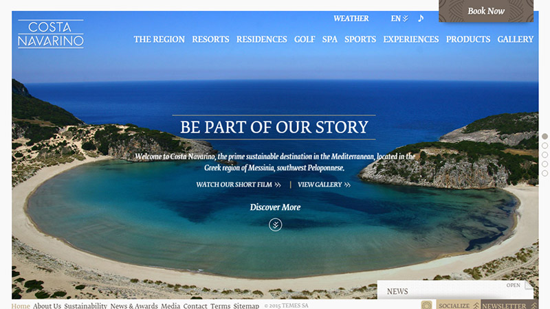 Costa Navarino thiet ke website dep