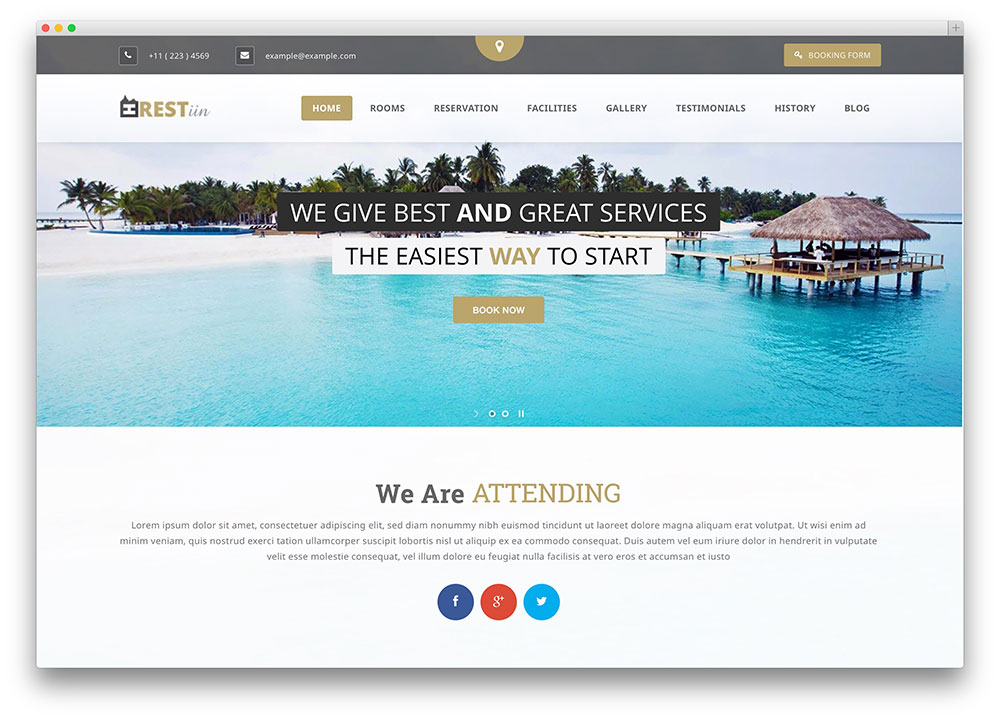 restinn hotel booking theme thiet ke web khach san