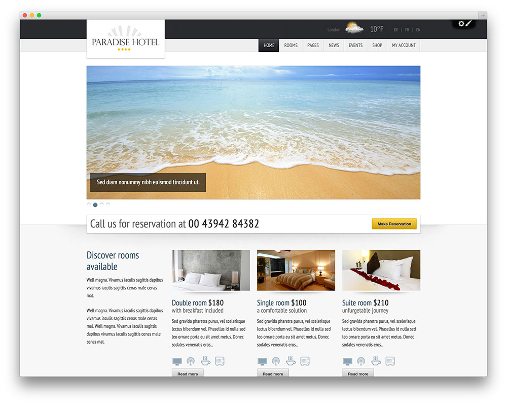 paradise hotel wordpress theme thiet ke web khach san