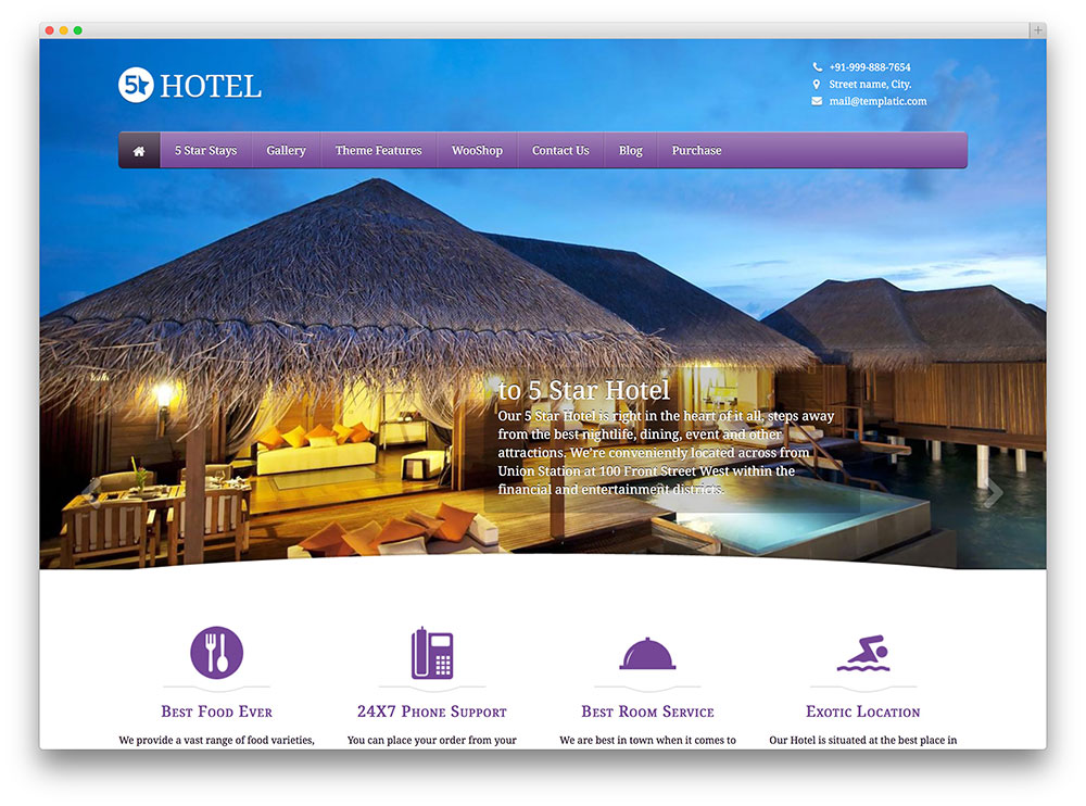 5 start hotel theme thiet ke web khach san