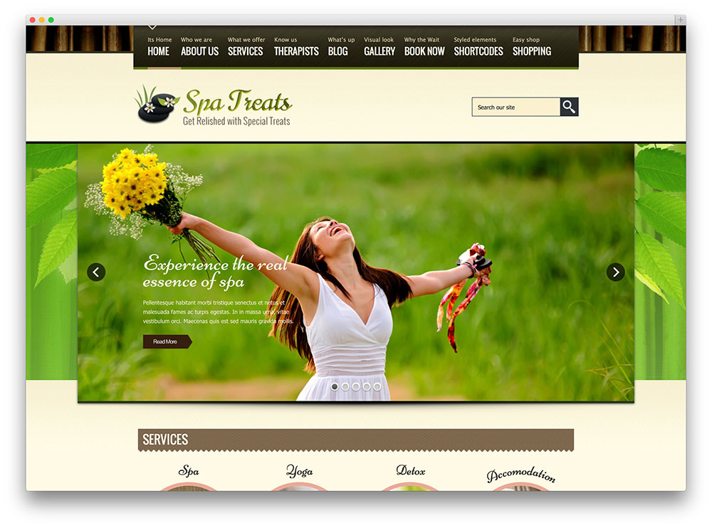 spa treats multipurpose theme thiet ke web khach san