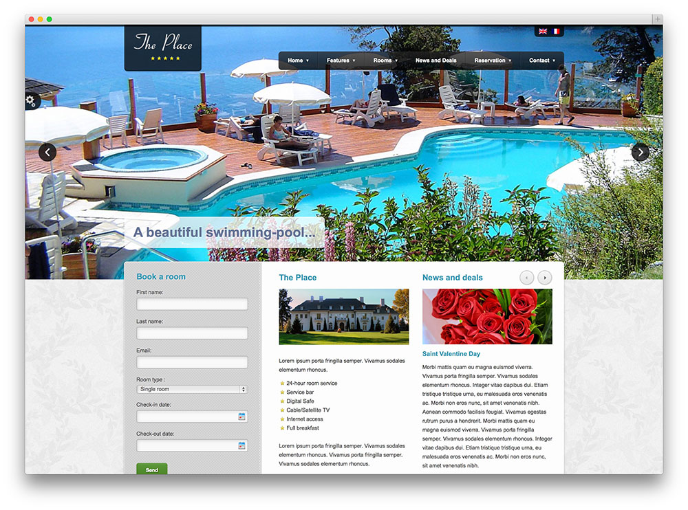 the place classic booking theme thiet ke web khach san