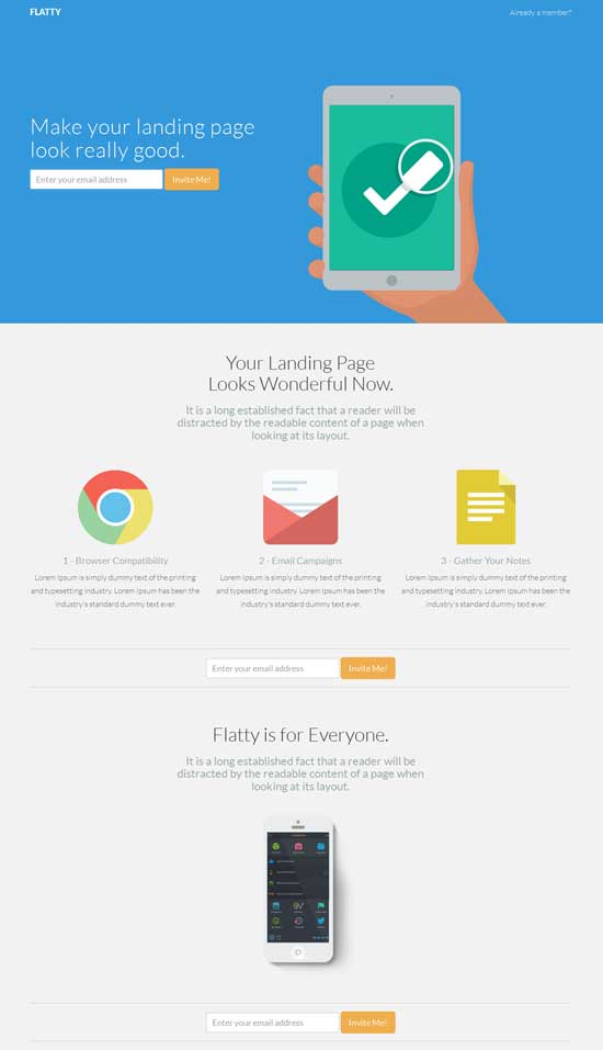 flatty app landing page template thiet ke web ban hang