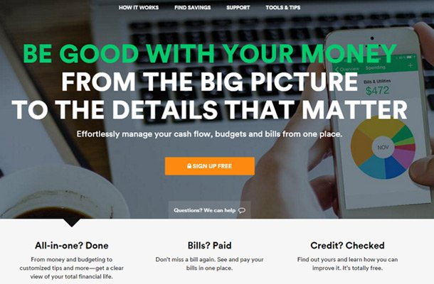 mint money management website homepage Thiet ke website chuyen nghiep