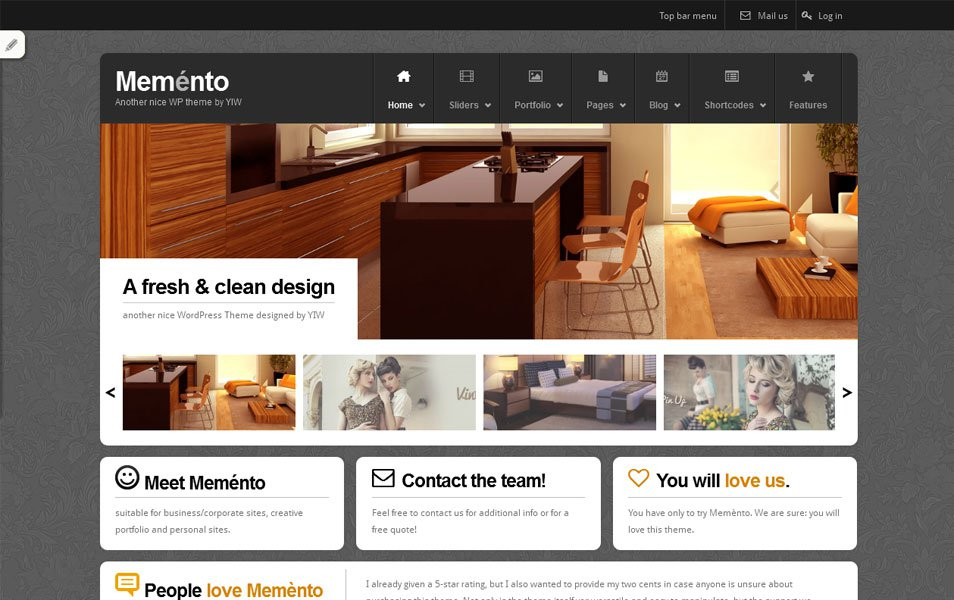 memento free portfolio wordpress theme