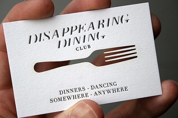 Thiet ke bo nhan dien thuong hieu sang tao Disappearing-Dining-Club-Laser-cut-Business-Card