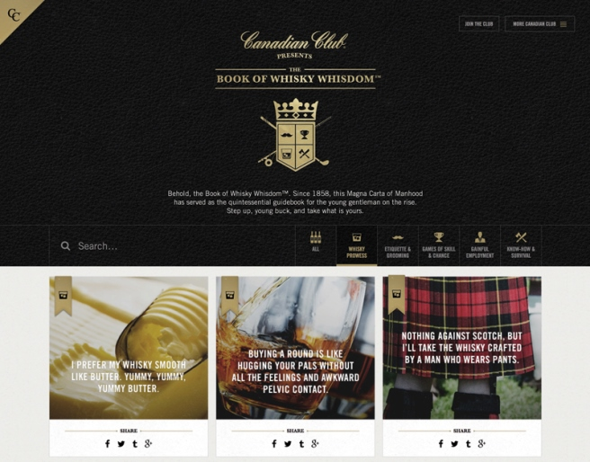 thiết kế website CC Book of Whisky Whisdom giải International Design Awards 2016