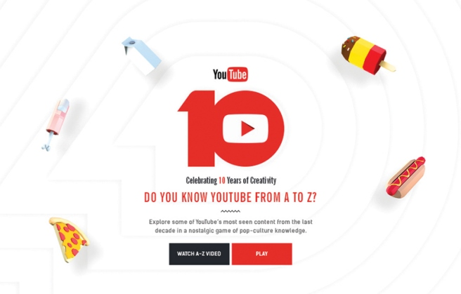 thiết kế website The A-Z of YouTube giải International Design Awards 2016