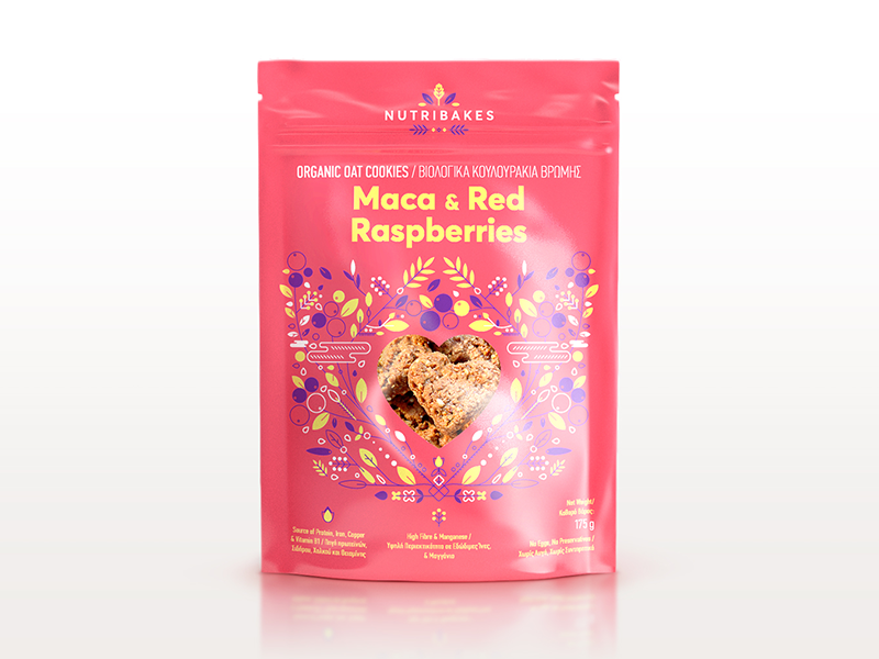 Thiết kế bao bì sản phẩm NUTRIBAKES MACA AND RED RASPBERRIES PACKAGING