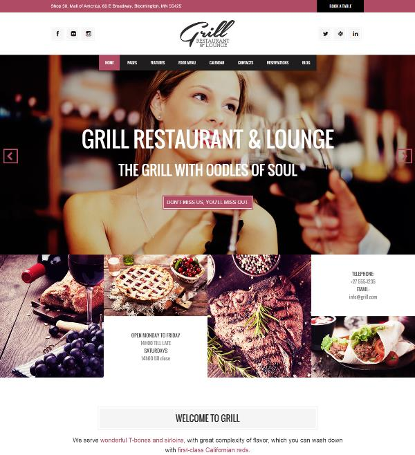 grill wordpress restaurant and lounge theme