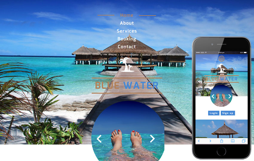 thiet ke website khach san blue water