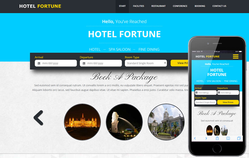 thiet ke website khach san fortune