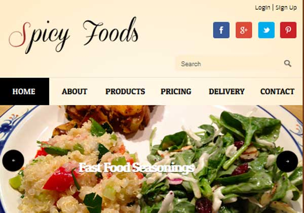 Thiet ke website nha hang spicy foods