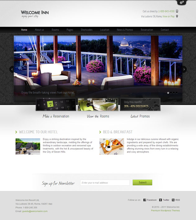 tim hieu chu de wordpress 2016 holiday va welcome inn danh cho thiet ke website khach san 2