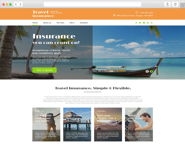 tim hieu mau thiet ke website du lich travel insurance va the traveller 1